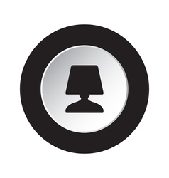 Round black white button - bedside table lamp icon vector