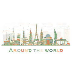 abstract travel concept around the world with vector image