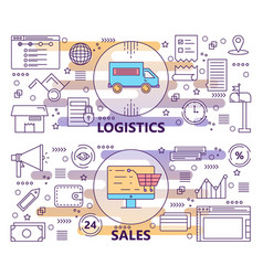 set of modern thin line logistics and sales vector image