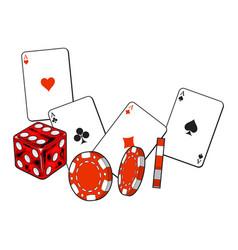 Heart spade clubs diamond ace cards dice and vector