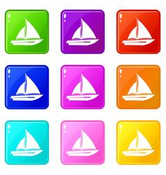 Sailing yacht icons 9 set vector