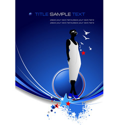 blue abstract background with girl image vector image