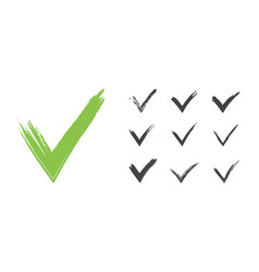 Hand drawn green grunge check mark set vector