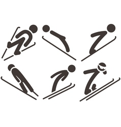 Ski jumping icons vector