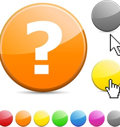 Question glossy button vector