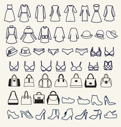 Female cloth and accessories collectionl vector