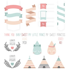 Set of cute ribbons labels droplet vector image