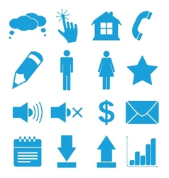 Blue flat icons set vector