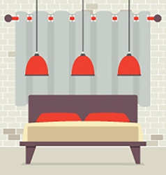 Double bed with red ceiling lamps in front of vector