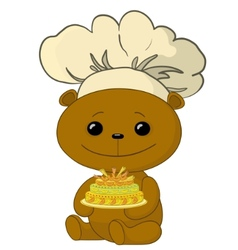 teddy bear cook vector image
