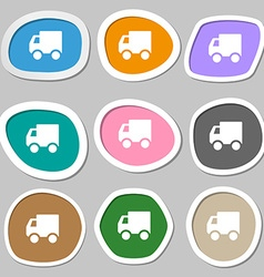 Delivery truck icon symbols multicolored paper vector