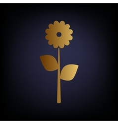 Flower sign golden style icon vector
