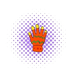 Winter glove icon comics style vector
