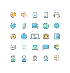 Contact us and support line icons vector image