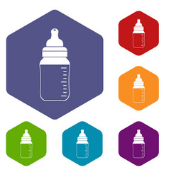 Baby milk bottle icons set hexagon vector