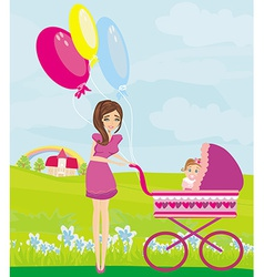 beautiful girl pushing a stroller with her vector image vector image