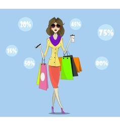 Buyer girl with shopping bags vector