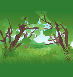 Cartoon summer green forest landscape background vector