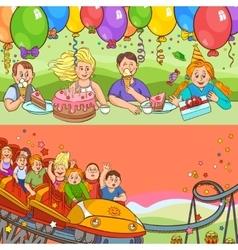 Child birthday cartoon banner set vector