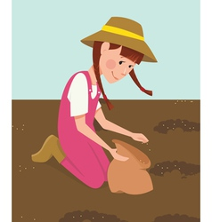 Children planted seeds vector