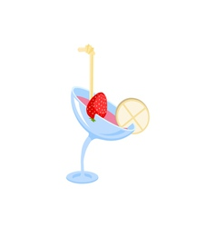 cocktail in a glass with strawberry vector image vector image
