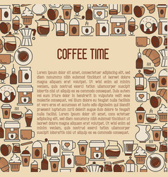 Coffee time concept with thin line icons vector