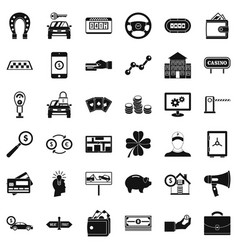 Coin in wallet icons set simple style vector