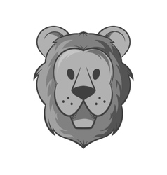 Face of a lion icon black monochrome style vector image vector image