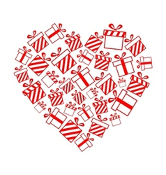 gift boxes in the heart shape vector image vector image