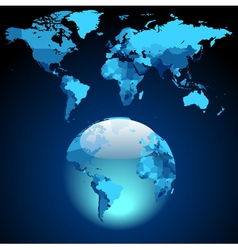 Globe on dark blue world map vector