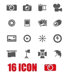 grey photo icon set vector image vector image