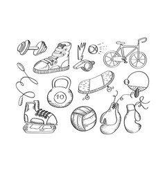 hand drawn sport equipment icons vector image