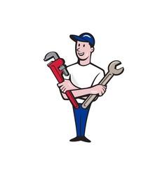 Handyman spanner monkey wrench cartoon vector
