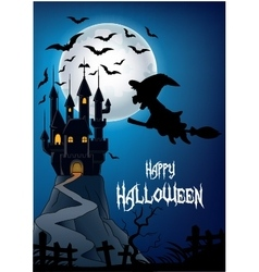 Haunted house with witch riding broom vector