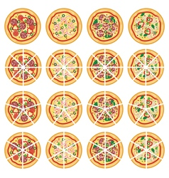 italian pizza icons vector image vector image