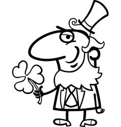 Leprechaun with clover cartoon for coloring vector image