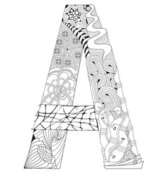 letter a for coloring decorative zentangle vector image vector image