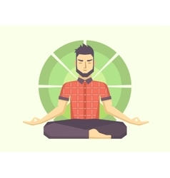 Man meditates in the lotus position vector
