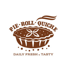 Meat pie roll quiche vector