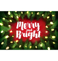 Merry and bright christmas greeting card vector