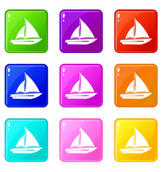 sailing yacht icons 9 set vector image vector image