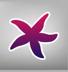 Sea star sign purple gradient icon on vector