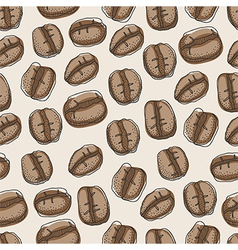 Seamless pattern of hand drawn coffee beans vector image vector image