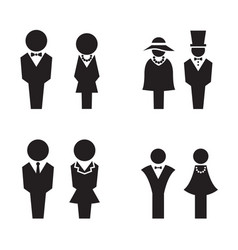 silhouette wc restroom toilet icons set vector image