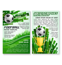 soccer ball and trophy on football stadium banner vector image