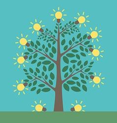 Tree and light bulbs vector image vector image