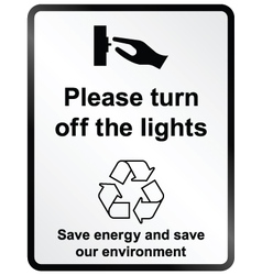 Turn off lights Information Sign vector image vector image