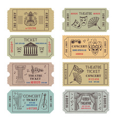 Vintage theatre or cinema tickets with different vector