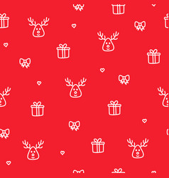 winter reindeer red seamless pattern christmas vector image vector image