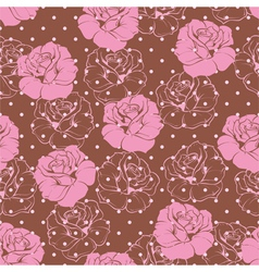 Seamless floral pattern pink rose background vector image